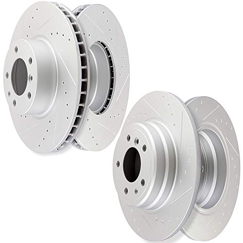 (AUTOMUTO Brake Rotors Kit with 4pcs Drilled Slotted Discs Brake Rotors fit for 1995-2001 BMW 740i,1995-2001 BMW 740iL,1994 1995 BMW 850CSi,1991 1992 BMW 850i)
