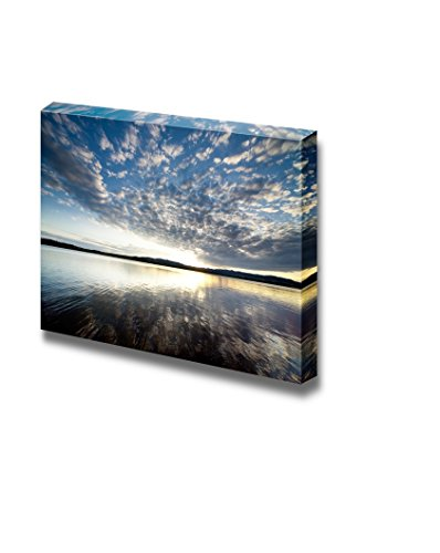 Beautiful Scenery Landscape Lake View at Sunset with Clouds on the Blue Sky Wall Decor ation