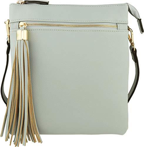 B BRENTANO Vegan Double-Zip Pocket Crossbody Handbag Purse wih Big Tassel Accent (Opal Blue) ()