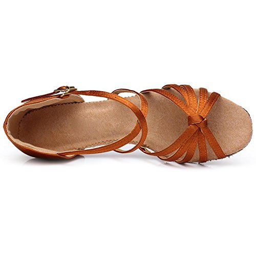 Eastlion Ballroom Salsa Tango Shoes Latin Dance Shoes Dance Sandals for Women and Girls Practice Brown 7LQjd106C