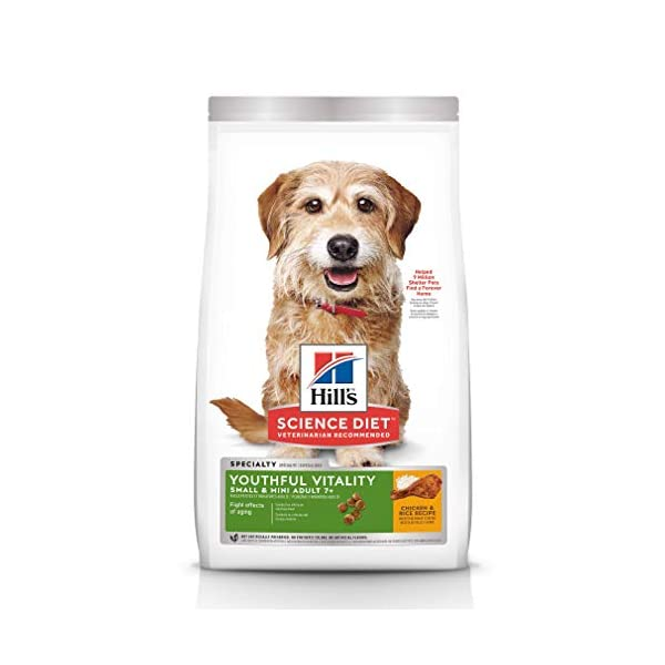 Hill's Science Diet Dry Dog Food, Adult 7+ for Senior Dogs, Youthful Vitality, Small & Mini Breeds, Chicken & Rice Recipe, 3.5 lb Bag