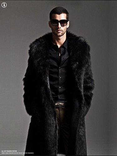Amazon.com: YABEIQIN Men Faux Fur Coat Long Jacket Outerwear