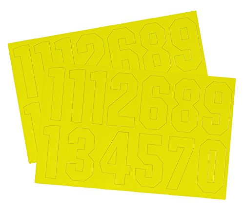 A&R Sports Number Decal, 2-Inch, Yellow (Yellow Decals)