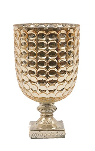 Creative Co-op Footed Glass Candle Holder, 5 x 8.25, Gold (Footed Candlestick)