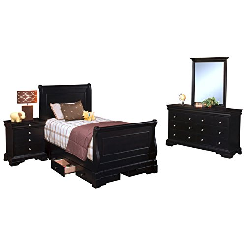 Black Hills Traditional Youth Sleigh 4 Piece Twin Bed, Nightstand, Dresser & Mirror in Black by NCF