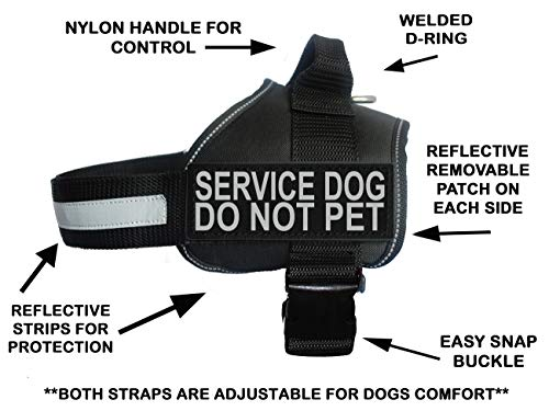 Doggie Stylz Service Dog Harness Vest Comes with 2 Reflective Service Dog DO NOT PET Removable Patches. Please Measure Dog Before Ordering (Girth 24-31