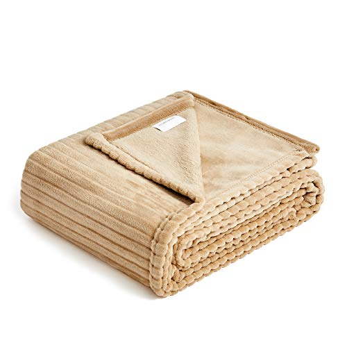 (FFLMYUHUL I U Fuzzy Throw Blanket with Super Soft and Warm Throw Flannel Blanket 50'' X 60'' Khaki)