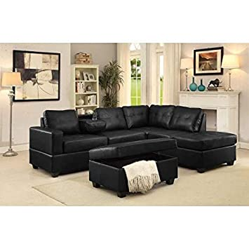 Amazon Com Gtu Furniture Pu Leather Reversible Sectional Sofa And
