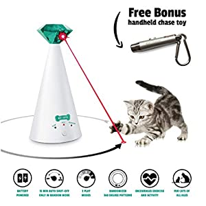 Ruff 'n Ruffus Automatic Laser Cat Toy + Free Bonus 3-in-1 Chase Toy | Interactive Cat Chase Toy | 3 Rotating Modes | Auto Shut-Off | AA Battery Operated | Kitten/Cat Owner's Gift Idea 14