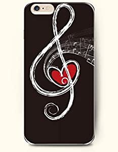 OOFIT Phone Case for iPhone 6 Plus 5.5 Inches with the Design of Red Heart and Music Note