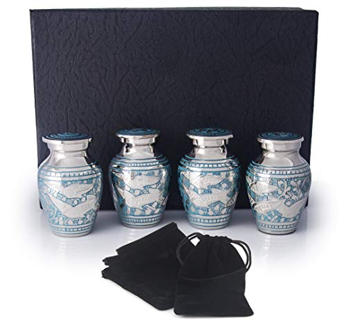 Sharing Urn - Small Cremation Urns for Human Ashes by Adera Dreams - Going Home Keepsake Urn Set of 4 - with Premium Case and Velvet Carrying Pouches - Miniature Memorial Funeral Urns for Sharing Ashes