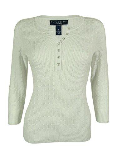Cable Knit Henley Sweater (Karen Scott Women's Cable Knit Henley Sweater (PXL, Bright White))