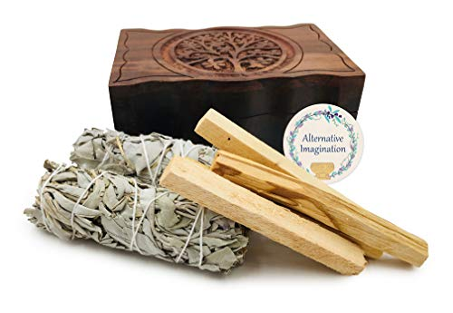 Alternative Imagination Carved Tree of Life Wooden Box with 2 California White Sage and 4 Palo Santo Incense