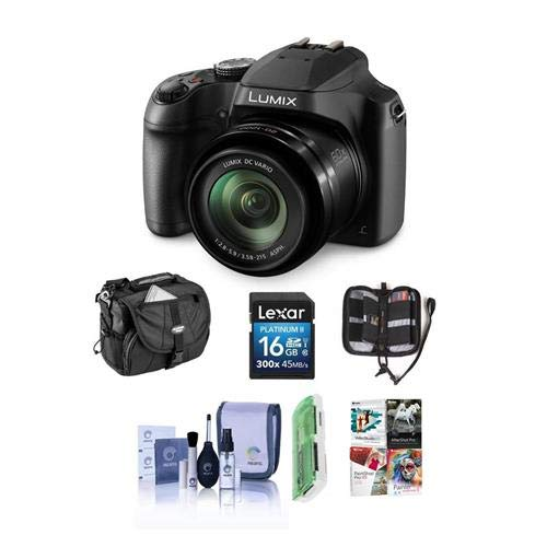 Panasonic Super Zoom Camera - Panasonic Lumix DC-FZ80 Digital Point & Shoot Camera - Bundle With 16GB SDHC Card, Camera Bag, Cleaning Kit, Memory Wallet, Software Package