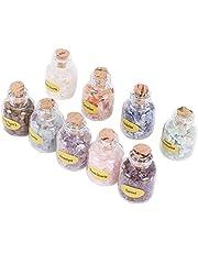 Yantan 1 doos van 9 flessen natuurlijke, halve edelsteen chip kristal genezing gedroogde Reiki Wicca reizen natuur stenen decoratie