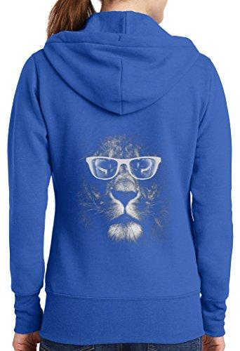 Womens Lion Glasses Full Zip Hoodie, Royal, 4X
