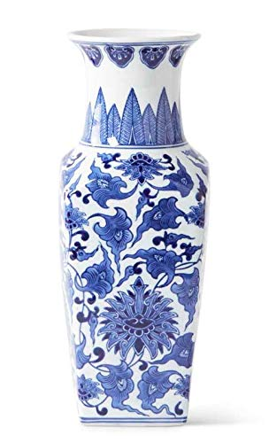 - K&K Interiors 14 Inch Porcelain Blue and White Chinoiserie Square Vase