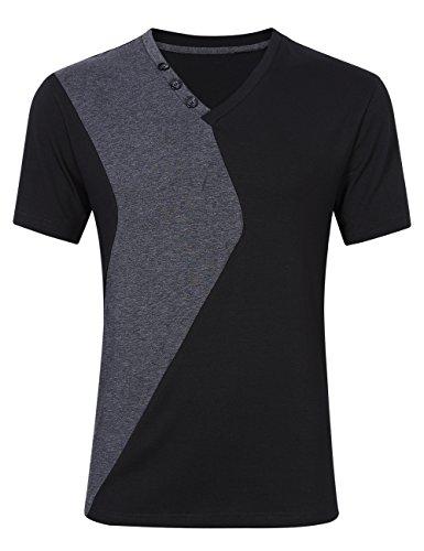 Men Summer Casual Slim Fit Block V Neck Short Sleeve T Shirt