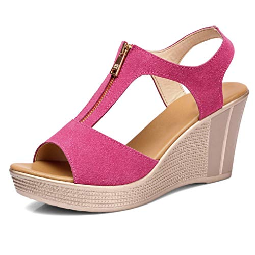 Btrada Women Platform Wedges Sandals Summer Open Toe Fish Mouth Casual Ladies T-Strap Zipper Shoes Hot Pink ()