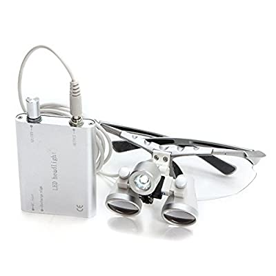 Zorvo Brand New Black Dentist Dental Surgical Medical Binocular Loupes 3.5X 320mm Optical Glass Loupe +Dental LED Head Light Lamp (silver