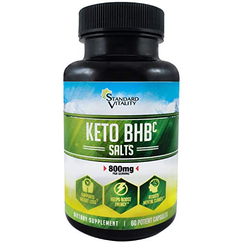 New! Keto BHB (c) Salt Supplement by Standard Vitality | Pure Beta-Hydroxybutyrate Exogenous Ketone Pill Capsules w/Caffeine | Support Weight Loss, Boost Energy, Increase Mental Clarity for ()