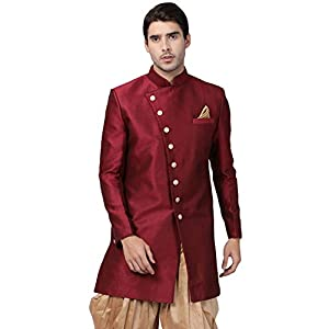 Vastramay Men's Beige Silk Blend Sherwani Only Top