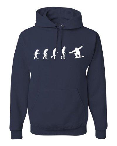 (ShirtLoco Men's Evolution Of Man To Snowboarder Hoodie Sweatshirt, Navy Blue Medium)
