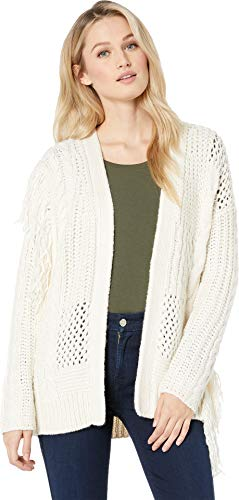 Two by Vince Camuto Women's Novelty Mix Stretch Fringe Cardigan Pearl Ivory Large ()