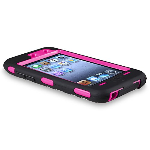 Shining Gold ZJX Hot Pink 3 in 1 Zebra Defender Impact Hard Rubber Case for Ipod Touch 4 4g 4th Generation