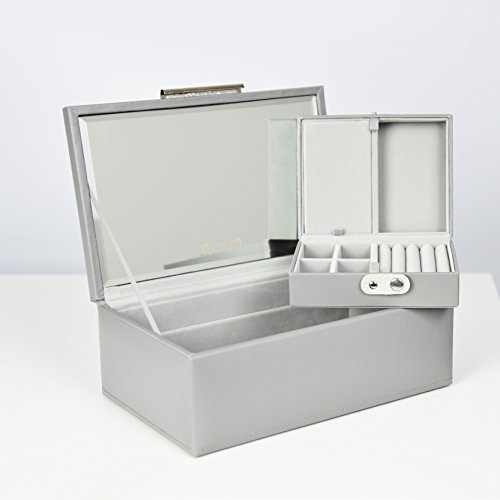 Bonded Leather Jewelry (| SPECIAL 50% OFF | Dulwich Designs | Jewelry Box | Malmo Gray Premium Bonded Leather Jewelry Box)