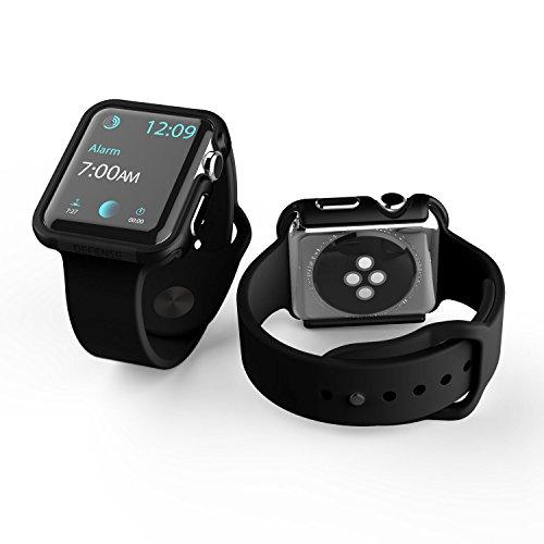 X-Doria 42mm Apple Watch Case, Defense Edge Premium Aluminum & TPU Bumper Frame for 42mm Apple Watch, Black/Black