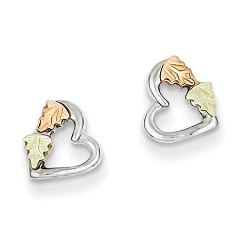 925 Sterling Silver w/ 12k Leaf Accent Polished Heart Post Stud Earrings 6mm x 6mm by Black Hill Gold
