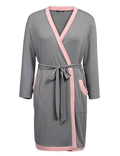 - IN'VOLAND Plus Size Women Waffle Kimono Bathrobe Lounge Spa Bath Robes Hotel Long Sleepwear Loungewear (Grey, 16W)