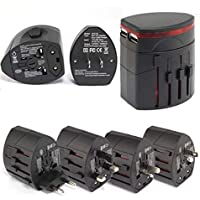 Universal Travel Adapter by Tolli - All in one Universal Travel Power Adapter for US, UK, EUR, Asia, AUS, NZ Including Dual USB Chargers. Safety Surge Protector (Black)