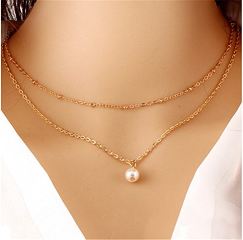 Fashion Multi-Layer Metal Pearl Necklace Personality Trend Simple Sweater Chain Female ()