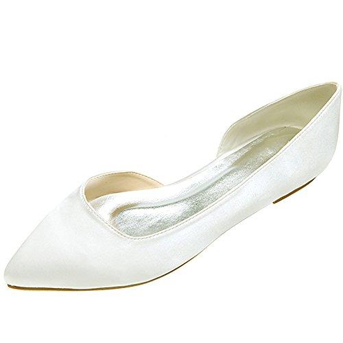LOSLANDIFEN Womens Elegant Sequins Flats Pionted Toe Wedding Ballet Bridal Shoes Ivory Satin 0Bf8tjljD