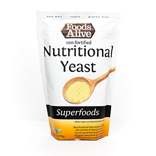 Foods Alive Nutritional Yeast Flakes, Non-Fortified, Non-GMO, Vegan, 6 oz