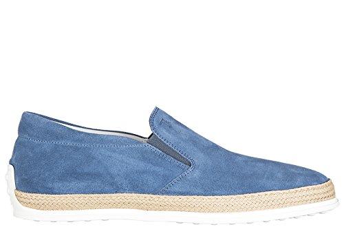 Tod's Herren Wildleder Slip On Slipper Sneakers pantofola Gummi Rafia blu