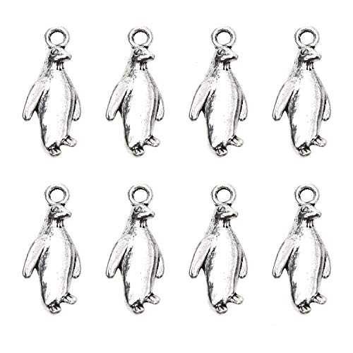 (Monrocco 30 Pack Silver 3D Animal Penguin Charms Penadant Jewelry Findings for Jewelry Making DIY Crafts)