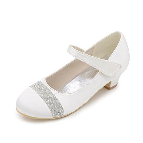 L@YC Mädchen High Heels Komfort Satin Frühling Sommer Herbst Winter Hochzeit Komfort Perle Flacher absatz Elfenbein Weiß Rot White
