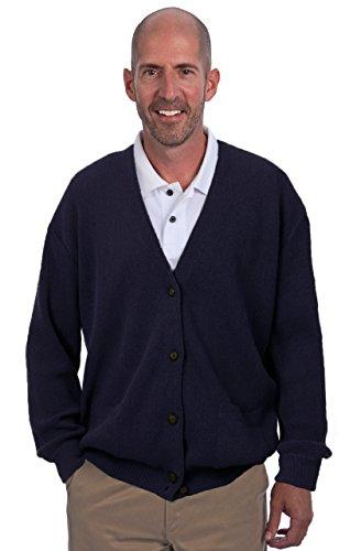 Alpaca Golf Men's Button Cardigan with Pockets - 100% Alpaca Superfine (XLarge, Navy) by Alpaca Golf