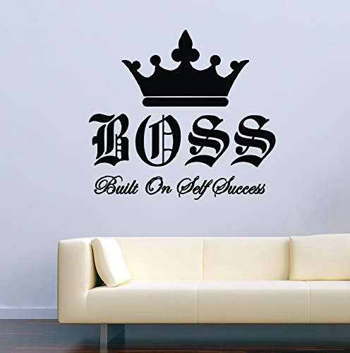 Motivational Wall Decals Quotes Boss Built On Self Success Lady Woman Girl Decor Stickers Vinyl MK1023 by USA Decals4You