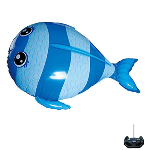 NOMENI New RC Remote Control Flying Shark Toy, Kids Large DIY Plastic Inflatable Air Swimmers Balloon Gift Christmas (Blue) -