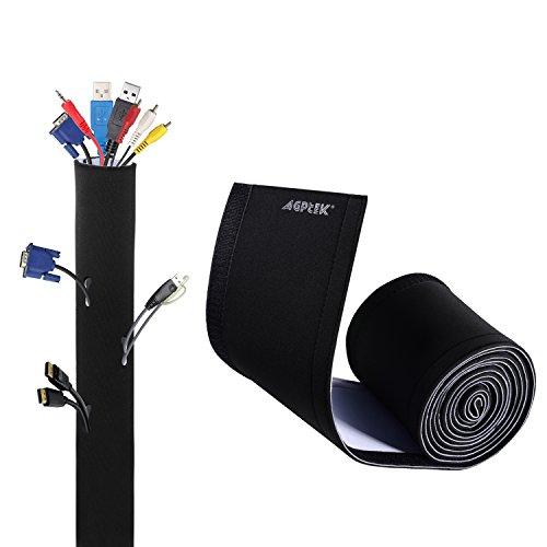 AGPTEK 118 Cable Management Sleeve, DIY Adjustable Neoprene Cord Hider for TV Computer, Reversible Black and White