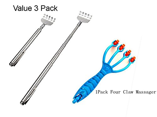 LifeDawn 3PCS Telescopic Stainless Steel Back Scratcher with Pocket Clip And 1PCS Four Claw Massager
