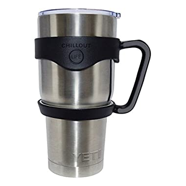Handle for YETI Cup 30 oz Ozark Trail RTIC SIC and Other 30 oz Tumblers. CHILLOUT LIFE Anti-Slip Handle Yeti Cup BPA-free. (Black Handle Only)