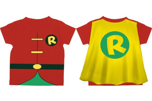 DC Comics Toddler costume Robin Caped T-Shirt, Red, 2T]()