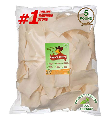 Cowdog Chews️ Natural Rawhide Chips – Premium Long-Lasting Dog Treats with Thick Cut Beef Hides, Processed Without Additives or Chemicals (5 Pounds)