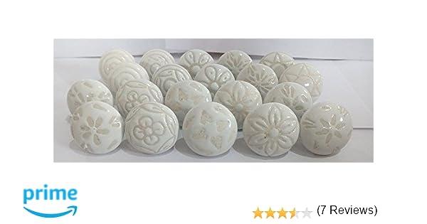 - Pomo para armario 20 cer/ámica, pintado a mano, 20 unidades color gris y blanco PUSHPACRAFTS