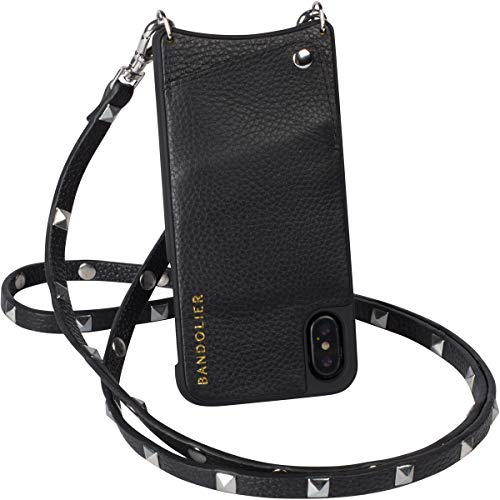 (Bandolier [Sarah] Crossbody Phone Case and Wallet - Compatible with iPhone 8 Plus, 7 Plus, 6 Plus, 6s Plus - Black Pebble Leather with Silver Detail)